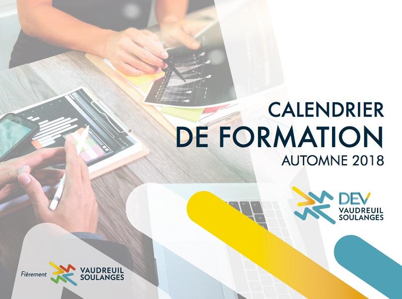 visuel calendrier formations Automne 2018 DEV Vaudreuil-Soulanges