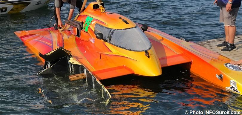 Hydro 350 hydroplane H-79 dommage ponton Regates Beauharnois 2018 photo INFOSuroit
