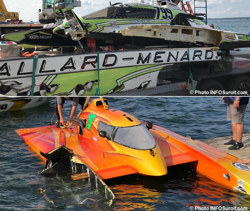 Hydro 350 hydroplane H-799 et H-79 dommages pontons Regates Beauharnois 2018 photo INFOSuroit