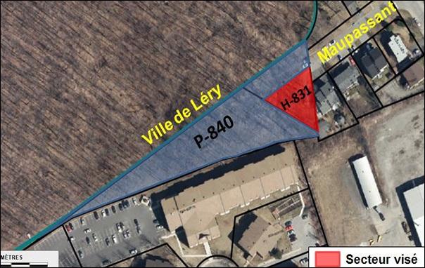carte de la rue Maupassant chateauguay secteur vise pour changement zonage visuel courtoisie VC