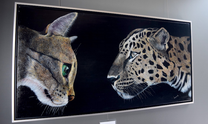 oeuvre artiste Andree_Latourelle leopard et chat exposition galerie MRC sept2018 photo via MRC