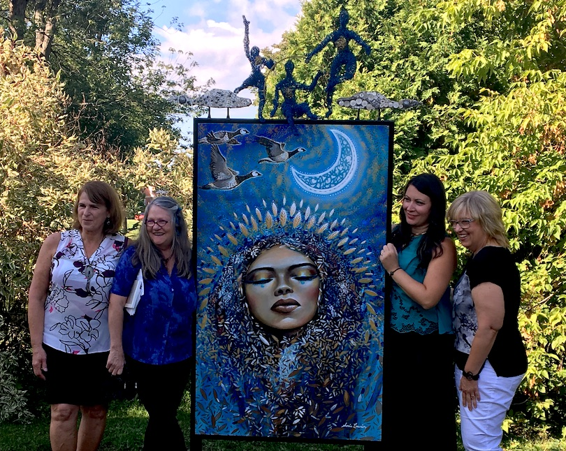 oeuvre de Sonia Laurin avec artistes du projet A_la_rencontre_des_voisines 15sept2018 a Mercier Photo courtoisie VM