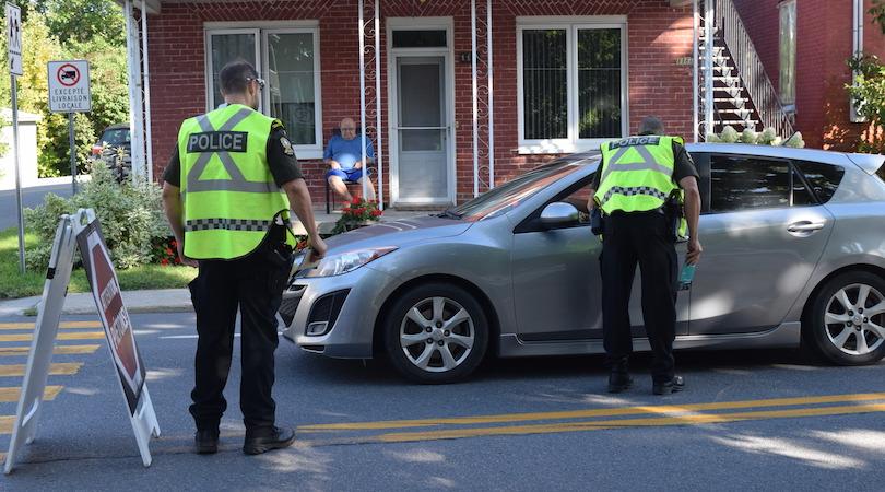 police operation sensibilisation pietons autos 15sept2018 St-Louis-de-Gonzague photo via MRC