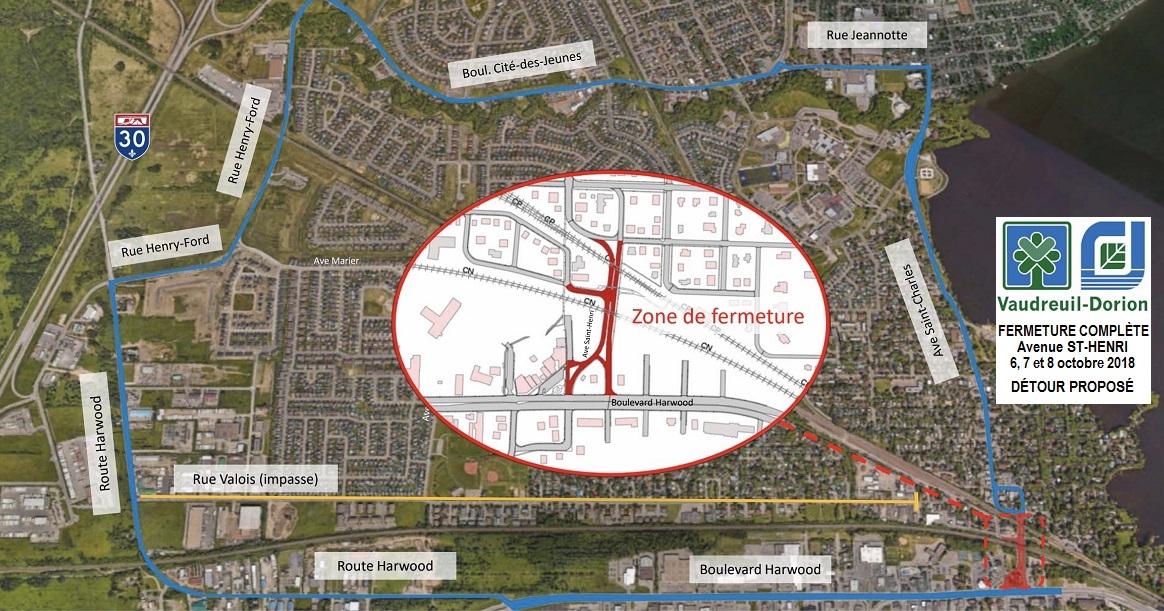 carte fermeture ave St-Henri Vaudreuil-Dorion et detour 6-7-8oct2018 courtoisie VD