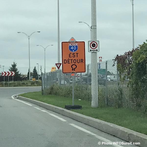 panneau signalisation detour autoroute 40 Est oct2018 photo INFOSuroit