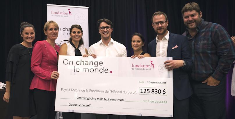 remise cheque Classique de golf 2018 Fondation Hopital du Suroit photo via FHS