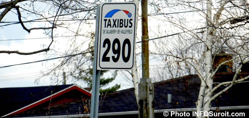 Taxibus Valleyfield transport en commnun par taxi panneau 290 photo INFOSuroit