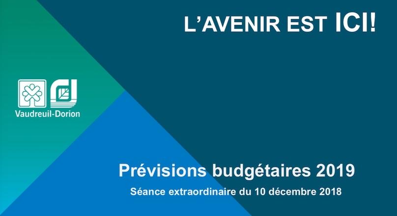 Couverture document Previsions budgetaires 2019 Ville de Vaudreuil-Dorion