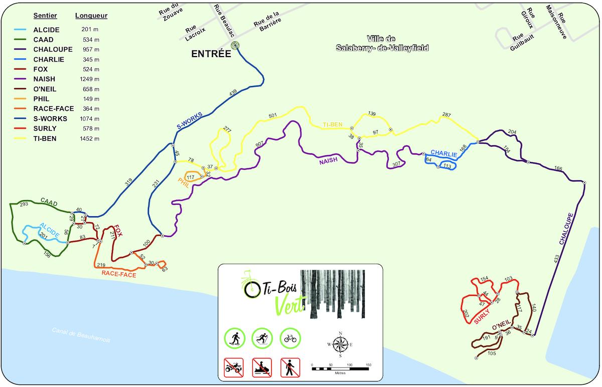 carte sentiers de Fatbike dans le Parc regional de Beauharnois-Salaberry visuel via MRC