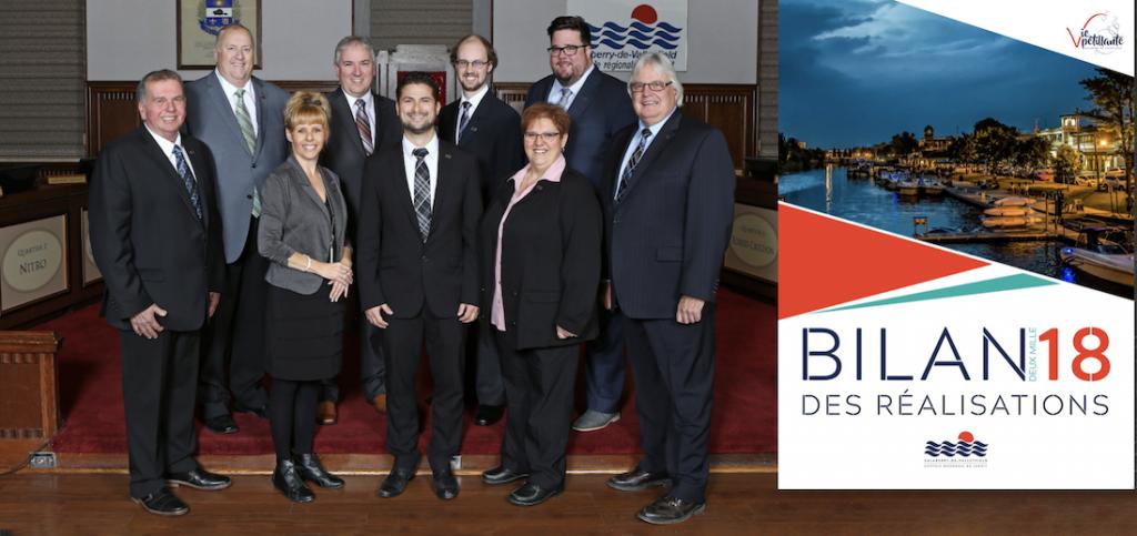 conseil municipal Ville Valleyfield et couverture revue Bilan des realisations 2018 photos via SdV