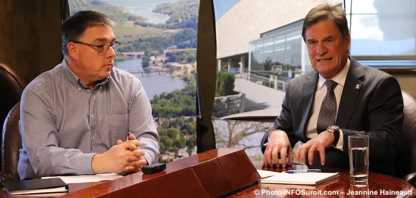 Mario_Lachapelle et le maire de Chateauguay Pierre-Paul_Routhier photo JHaineault INFOSuroit