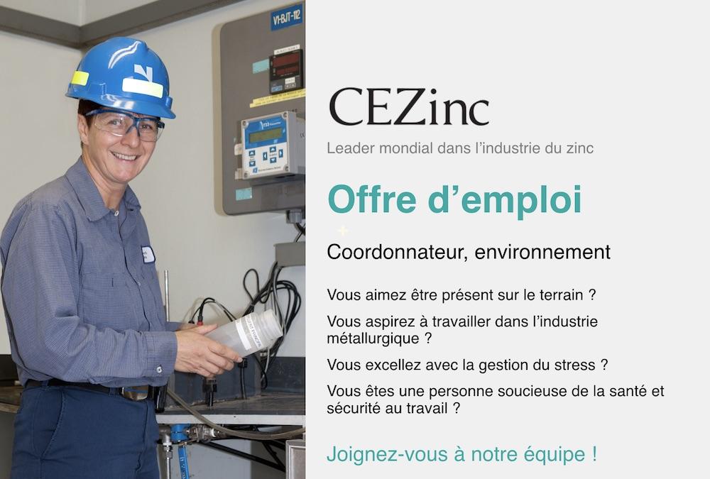 emploi CEZinc coordonnateur environnement avec photo courtoisie CEZinc