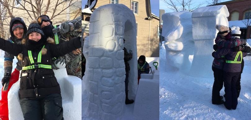 etudiants College Valleyfield concours intercollegial sculpture sur neige photos courtoisie
