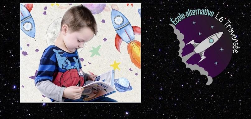 lecteur enfant photo ArtysBee via Pixabay CC0 et logo visuel ecole alternative La_Traversee a Valleyfield