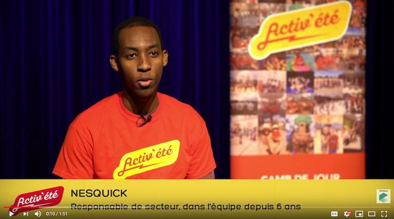 ActivEte camp de jour recrutement video NesQuick visuel courtoisie Ville Chateauguay