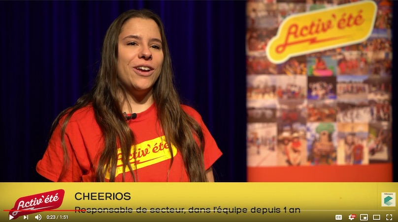 ActiveEte camp de jour recrutement video temoignage Cheerios cisuel courtoisie Ville Chateauguay