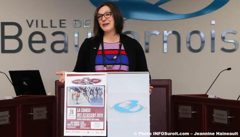 RPoissant conseillere municipale Beauharnois pour annonce Course des eclusiers photo JH pour INFOSuroit