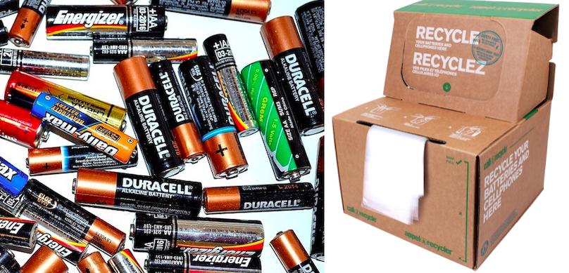 batteries piles PublicDomainPictures via Pixabay et boites Appel a recycler via MRCBhS