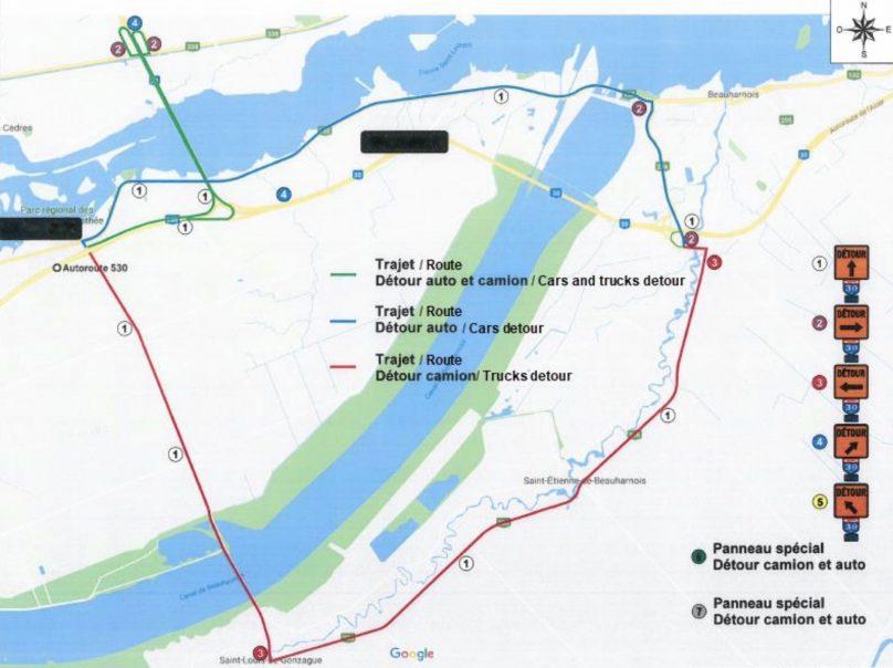 Carte detour travaux autoroute 30 pont M-Parent visuel courtoisie A30Express