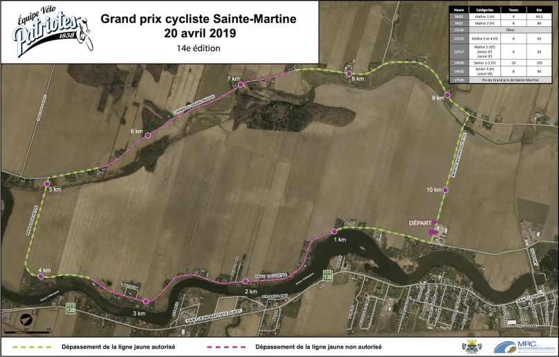 Carte parcours Grand Prix cycliste Sainte-Martine 2019 visuel courtoisie AC