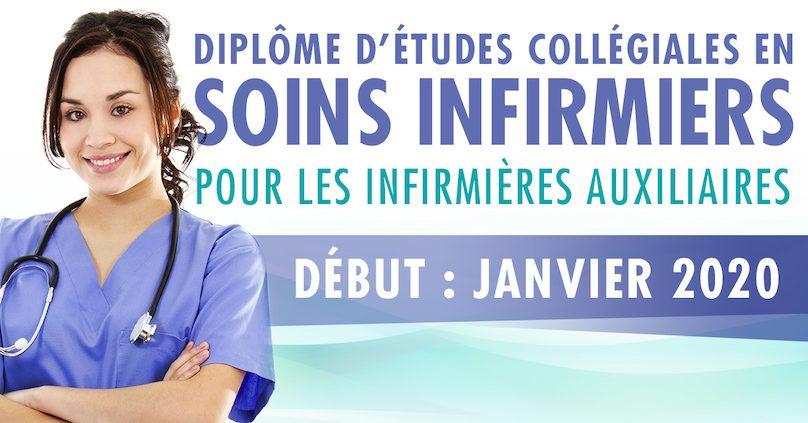 affiche DEC en Soins infirmiers pour infirmières auxiliaires visuel via ColVal