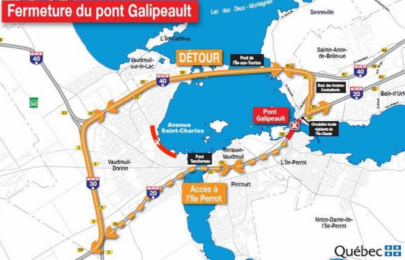 carte fermeture pont Galipeault 27avr2019 photo via MTQ et ajout ave St-Charles