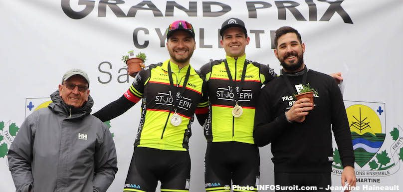 podium Senior 3 hommes GP cycliste Ste-Martine 2019 photo JH INFOSuroit