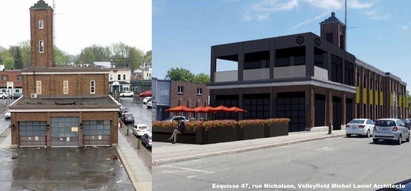 Ancien poste de police SQ a Valleyfield photo SdV et esquisse projet Michel_Laniel architecte