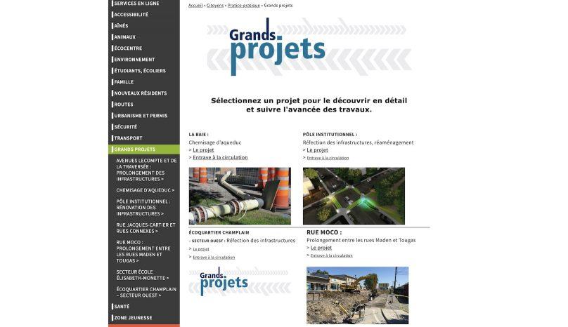 Capture ecran Grands Projets site Web Ville Valleyfield 2mai2019
