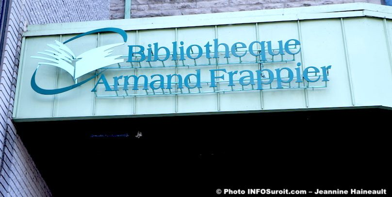 bibliotheque Armand-Frappier Valleyfield entree embleme photo JH INFOSuroit