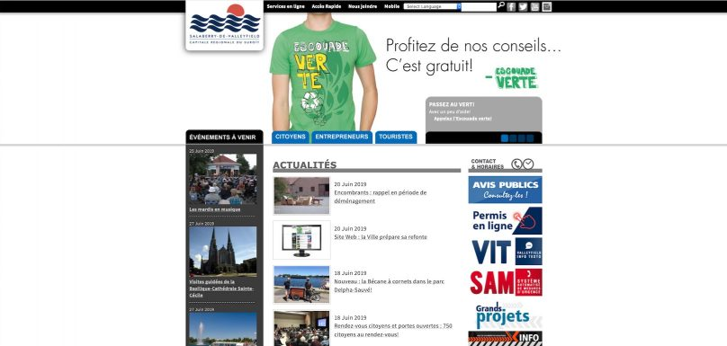 capture ecran site Web ville Salaberry-de-Valleyfield juin2019 publiee par INFOSuroit