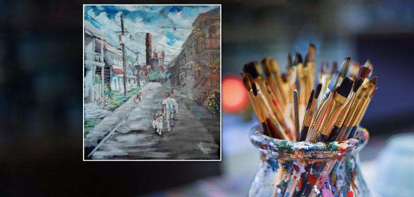 pinceaux peinture photo Skitterphoto via Pixabay et INFOSuroit et tableau Jean-Claude_Leduc Depeindre-Repeindre 2018 via PRAQ