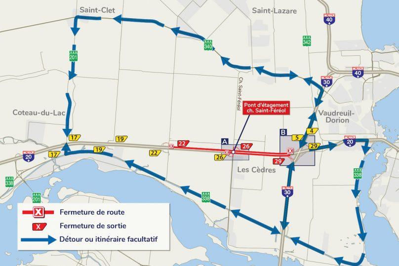 carte-fermeture-autoroute-20-a-Les-Cedres-detours-carte-via-MTQ