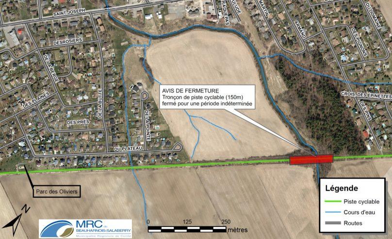 carte fermeture piste cyclable du parc regional a Ste-Martine 5juillet2019 visuel via MRC