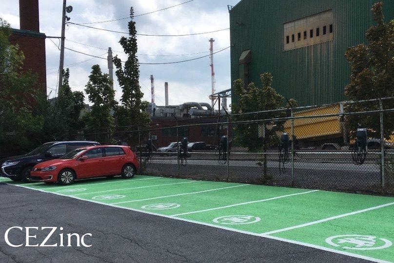 CEZinc bornes de recharge pour employes avec vehicules electriques VE