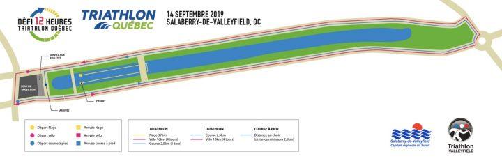 carte parcours defi 12 heures Triathlon Quebec a Valleyfield visuel courtoisie TQ