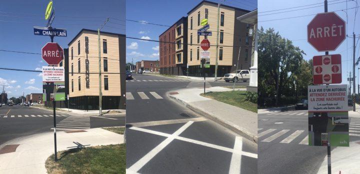 panneau partage de la route zones hachurees rues St-Thomas Champlain Salaberry photos Ville Valleyfield
