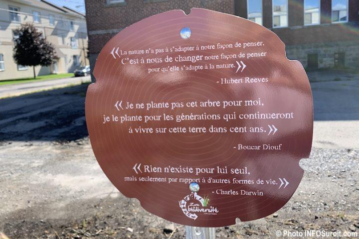 Place Viateur-Daignault Valleyfield panneau citations photo INFOSuroit