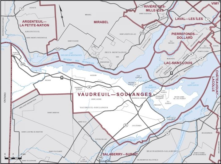 Elections Canada carte circonscription Vaudreuil-Soulanges 2019