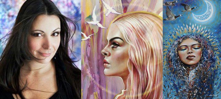 artiste peintre Sonia-Laurin et 2 des oeuvres de l_expo Aura photos courtoisie MRC