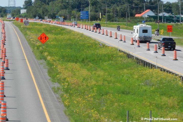 autoroute 20 Ouest a Coteau-du-Lac depuis viaduc route 201 photo INFOSuroit