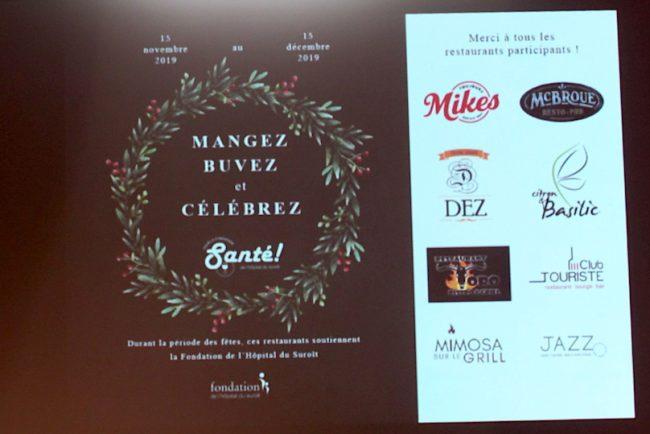 affiche Campagne Sante Fondation Hopital Suroit avec logos restaurants participants photo INFOSuroit