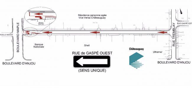 carte Ville de Chateauguay rue de Gaspe Ouest sens unique nov2019 courtoisie VC