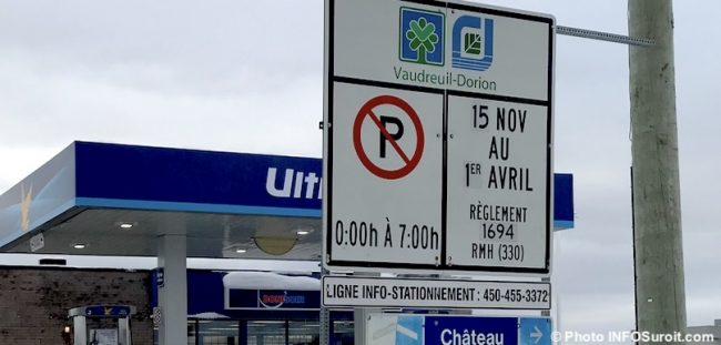 panneau stationnement de nuit hiver Vaudreuil-Dorion photo INFOSuroit