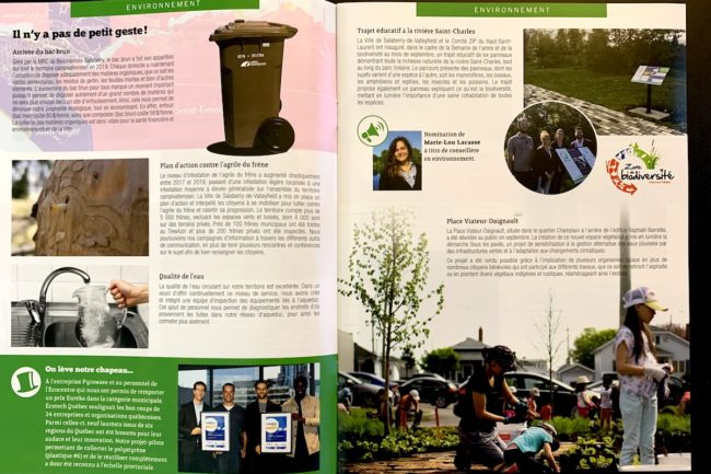 Bilan des realisations 2019 Ville Valleyfield pages 12 et 13 Environnement