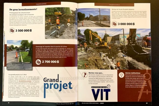 Bilan des realisations 2019 Ville Valleyfield pages 18 et 19 Grands projets