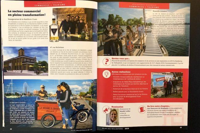 Bilan des realisations 2019 Ville Valleyfield pages 22 et 23 Commerce et Tourisme