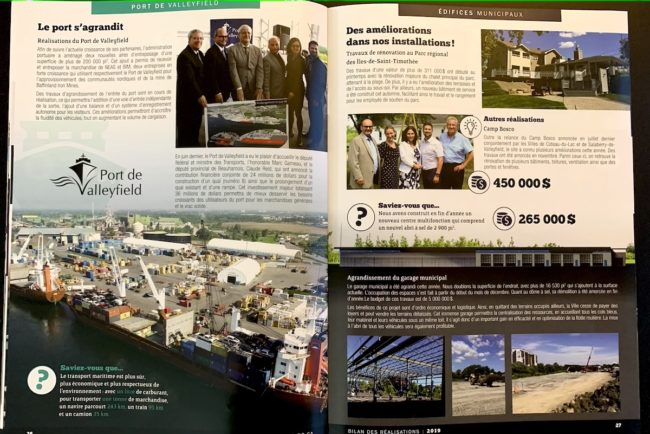 Bilan des realisations 2019 Ville Valleyfield pages 26 et 27