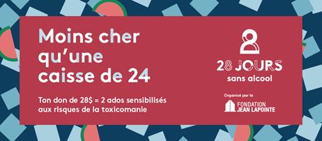 Fondation Jean_Lapointe Defi 28 jours sans alcool jan2020