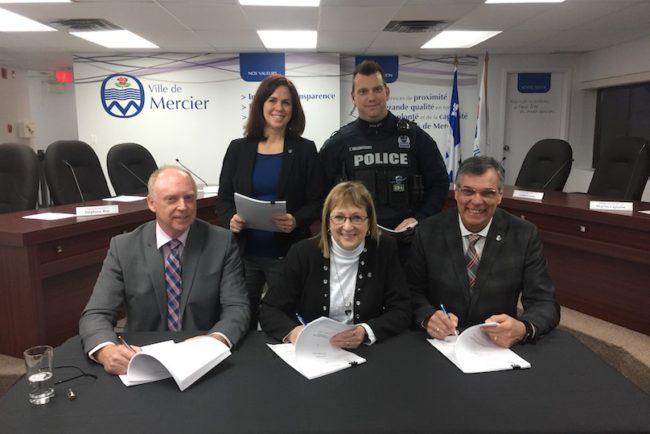Signature convention avec les policiers de Mercier photo Ville Mercier